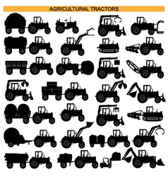 Agricultural tractor pictograms vector
