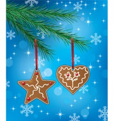 gingerbread on Christmas tree vector image
