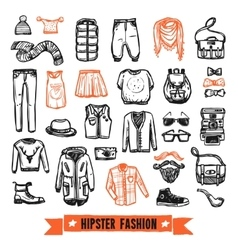 Fashion clothes hipster doodle icons set vector