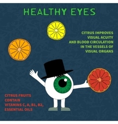 Info about the benefits of citrus for eyesight vector