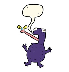 Cartoon poisonous frog catching fly with speech vector
