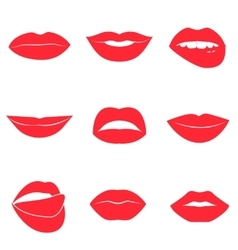 Set of glamour red lips beautiful female lips vector