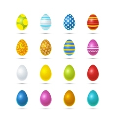 Set of sixteen bright colourful easter eggs on vector