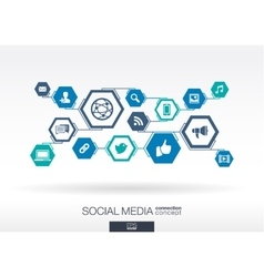 Social media network hexagon abstract background vector