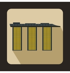 Marina bay sands hotel singapore icon flat style vector