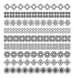 Arabic frame ornament pattern brush set vector