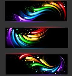 banner with rainbow pattern vector image vector image