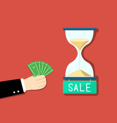 Businessman want to buy time by his money vector
