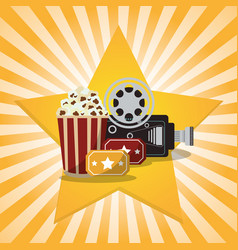 Cinema pop corn tickets camera star background vector