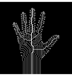 Circuit abstract hand vector
