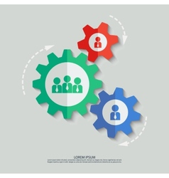 Color cogwheels with team and man icons vector