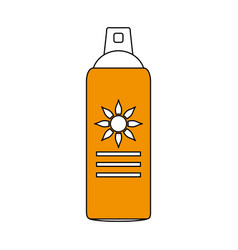 Color silhouette image yellow sun block spray vector