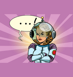 comic of angry woman astronaut vector image vector image