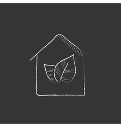 Eco-friendly house drawn in chalk icon vector