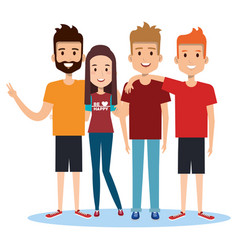 group of happy people friends together in casual vector image