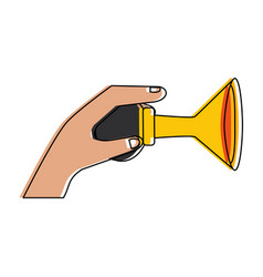 Hand with old air horn vector