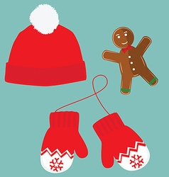 Hat mittens and cookie vector image