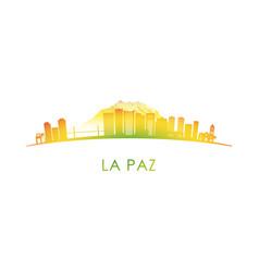 La paz skyline silhouette design colorful vector