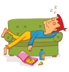 lying and sleeping on sofa vector image vector image