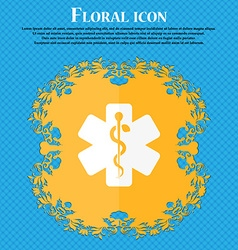 Medicine icon Floral flat design on a blue vector image