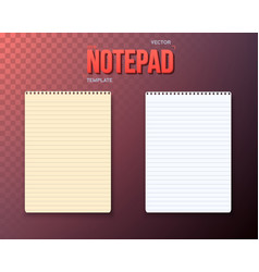 notepad paper notebook template set vector image vector image