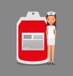 Nurse staff medical with bag blood vector