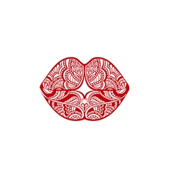 Ornate red lips vector