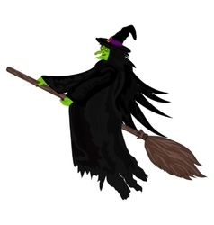 Scary witch flying on a broom vector image