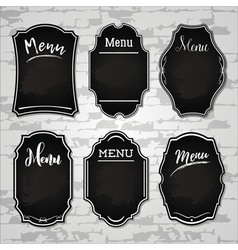 Set 4 of design elements chalkboard menu sample vector