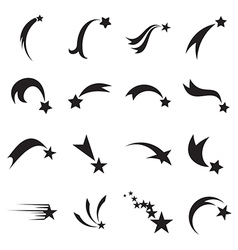 Shooting star icons comet icons vector
