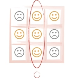Smiley tic tac toe game vector