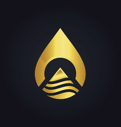 water drop technology abstract gold logo vector image vector image
