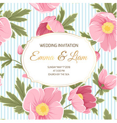 Wedding invitation anemone hellebore peony flowers vector