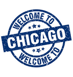 Welcome to chicago blue stamp vector