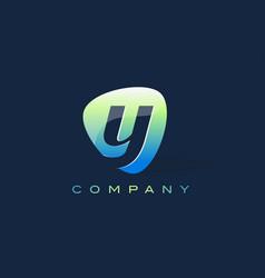 y letter logo oval shape modern design vector image vector image
