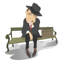 Sad man on the bench vector