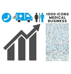 Growth chart icon with 1000 medical business vector