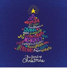 handwritten word cloud Christmas tree card vector image