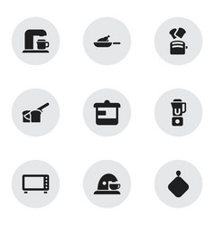 set of 9 editable cook icons includes symbols vector image