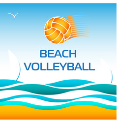 Beach volleyball bright design element vector