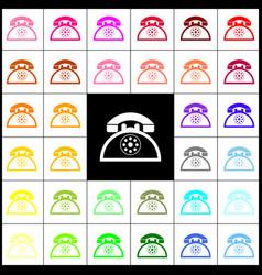 retro telephone sign  felt-pen 33 colorful vector image