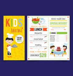 kids restaurant menu design vector image