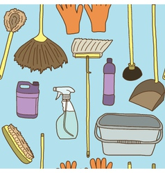 Seamless of cleaning items vector