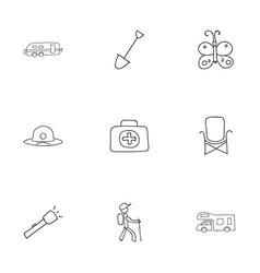 set of 9 editable travel doodles includes symbols vector image