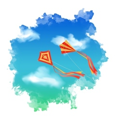 Sky kite watercolor vector