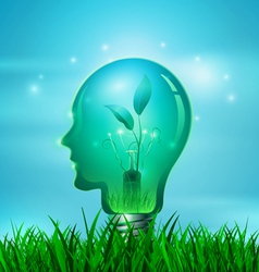 Human head light bulb with nature vector