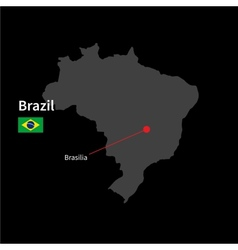 Detailed map of brazil and capital city brasilia vector