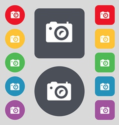 Digital photo camera icon sign a set of 12 colored vector