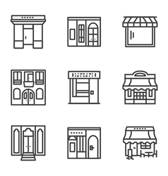 Building facade simple line icons vector