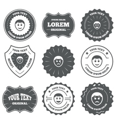 Human smile face icons happy sad cry vector